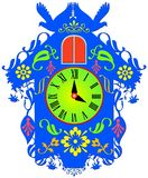 Красочные часы с кукушкой иллюстрация вектора