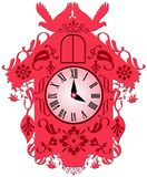 Красочные часы с кукушкой иллюстрация штока