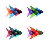 Красочные шаблоны стрелки знамени варианта вектора, infographic планы иллюстрация штока