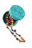 Красочные шарики из jewerly коробки изолированной на белизне Стоковая Фотография