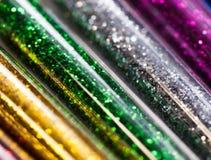 Красочные яркие блески в пластиковой упаковке, Стоковое Изображение RF