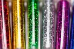 Красочные яркие блески в пластиковой упаковке, Стоковая Фотография RF