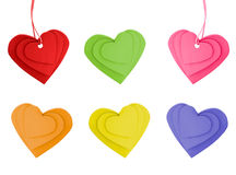 Красочные ярлыки сердца стоковое изображение rf