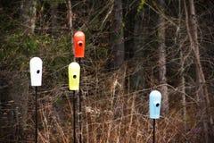 Красочные birdhouses в древесинах стоковая фотография