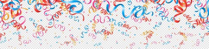 Красочные confetti и ленты party вектор изолированный предпосылкой иллюстрация штока