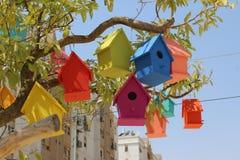 Красочные dovecotes на дереве Стоковые Изображения