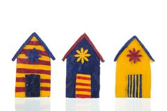 Красочные handmade кабины пляжа стоковые изображения rf