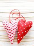 Красочные handmade сердца ткани Стоковые Фотографии RF
