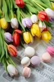 Красочные macaroons и тюльпаны стоковая фотография