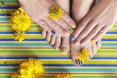 Красочные striped pedicures и маникюры лета моды стоковые фото