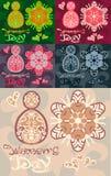 Красочный абстрактный день ` s женщин карточки с детальной картиной Стоковые Изображения RF