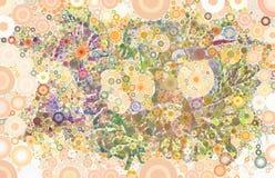 Красочный абстрактный флористический венок с геометрическими кругами Стоковое фото RF