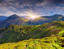 Красочный ландшафт лета в горах Стоковая Фотография