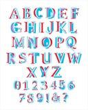 Красочный латинский алфавит с номерами в стиле chidlren Стоковые Фото