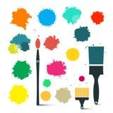 Красочный брызгает с щетками иллюстрация штока