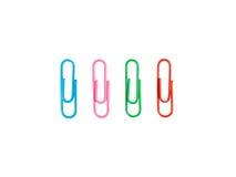 Красочный бумажный зажим изолированный на белой предпосылке с путем клиппирования Стоковое Фото