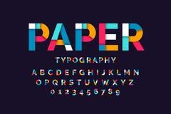 Красочный бумажный шрифт иллюстрация штока