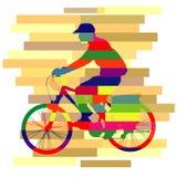 Красочный вектора велосипеда езды Стоковые Фотографии RF