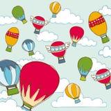 Красочный вектор воздушного шара и облака Стоковое Изображение