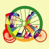 Красочный вектор силуэта такси велосипеда Стоковая Фотография RF