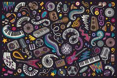 Красочный вектор doodles комплект шаржа объектов музыки диско Стоковая Фотография RF