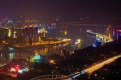Красочный взгляд ночи Чунцина Стоковое Изображение