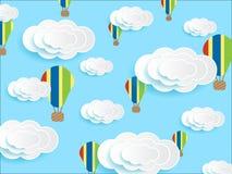 Красочный воздушный шар в векторе неба иллюстрация штока