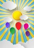Красочный воздушный шар летая высоко в воздух иллюстрация вектора