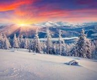 Красочный восход солнца зимы в горах стоковые фото