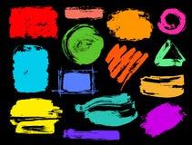 Красочный высушите ходы краски grunge щетки иллюстрация вектора