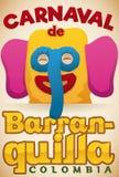 Красочный выдвиженческий плакат с праздничной головой Marimonda для масленицы ` s Барранкильи, иллюстрации вектора бесплатная иллюстрация