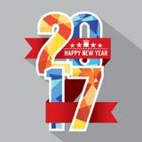 Красочный геометрический значок современные 2017 с красной лентой Стоковые Изображения RF