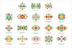 Красочный геометрический комплект орнамента, абстрактные элементы логотипа vector иллюстрации иллюстрация штока