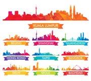 Красочный горизонт азиатских городов иллюстрация вектора