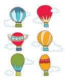 Красочный горячего вектор воздушного шара & облака Стоковые Изображения
