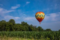 Красочный горячий воздушный шар над кукурузным полем на солнечный день с деревьями и пасмурным голубым небом Стоковое Фото