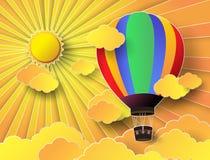 Красочный горячий воздушный шар с заходом солнца иллюстрация вектора