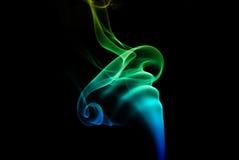 Красочный голубой и зеленый дым Стоковая Фотография RF
