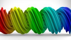 Красочный градиент радуги переплел спиральный перевод формы 3D Стоковая Фотография RF