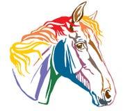 Красочный декоративный портрет illustr вектора Trakehner horse-4 Стоковая Фотография