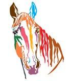 Красочный декоративный портрет illustr вектора Trakehner horse-2 Стоковые Фотографии RF