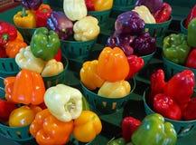 Красочный дисплей свежих выбранных болгарских перцев Стоковая Фотография RF