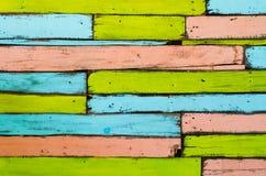 Красочный деревянной предпосылки стены Стоковые Изображения