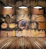 Красочный запятнанный камень льва и старая кирпичная стена, свет лампы на деревянном поле Стоковая Фотография