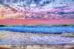 Красочный заход солнца над морем в Испании, Тенерифе стоковое изображение rf