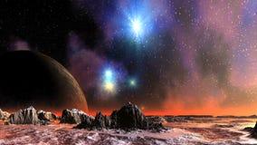 Красочный заход солнца на планете чужеземца сток-видео