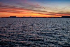 Красочный заход солнца на озере Balaton в лете Стоковое фото RF
