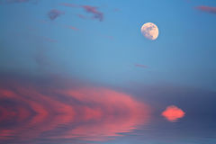 Красочный заход солнца над пляжем океана Стоковое Изображение RF