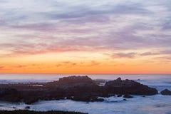 Красочный заход солнца на пляже 9 океана Стоковое Изображение RF