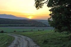 Красочный заход солнца над следом Стоковые Изображения RF